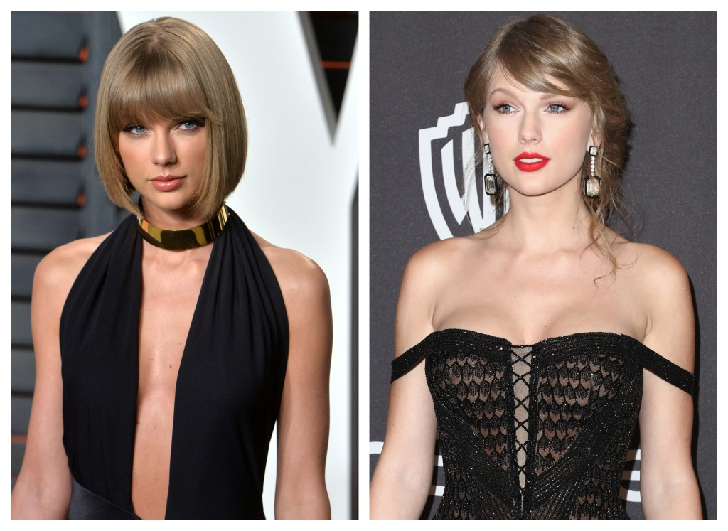 Taylor Swift, Black Dresses, Split Image