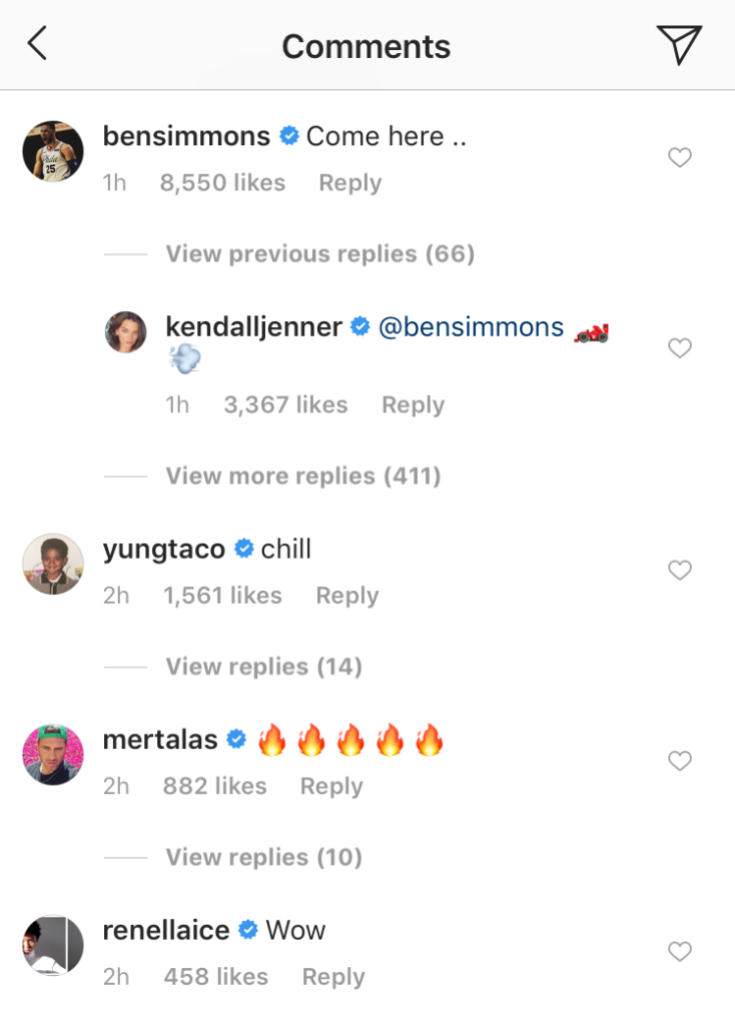 ben simmons comments on Kendall Jenners instagram