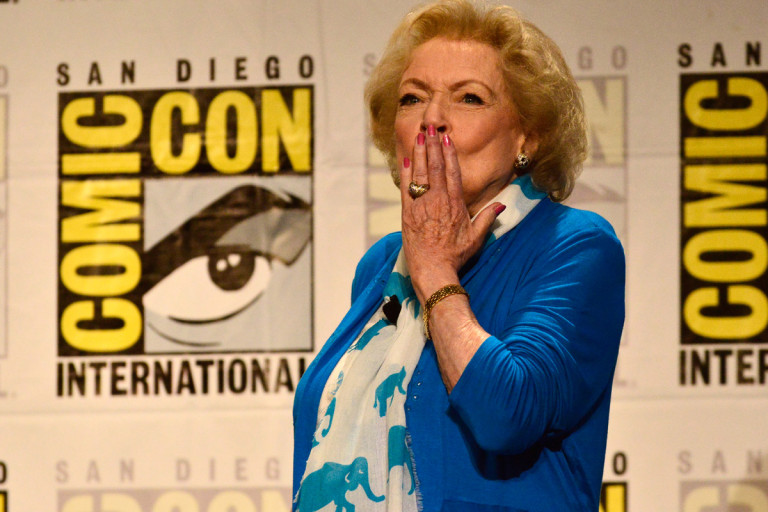 Betty White blowing a kiss at the audience at Comic Con