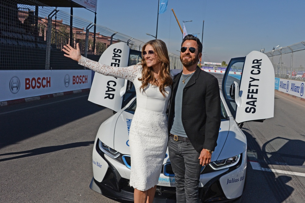 Elizabeth Hurley, Justin Theroux All Smiles at Marrakesh E