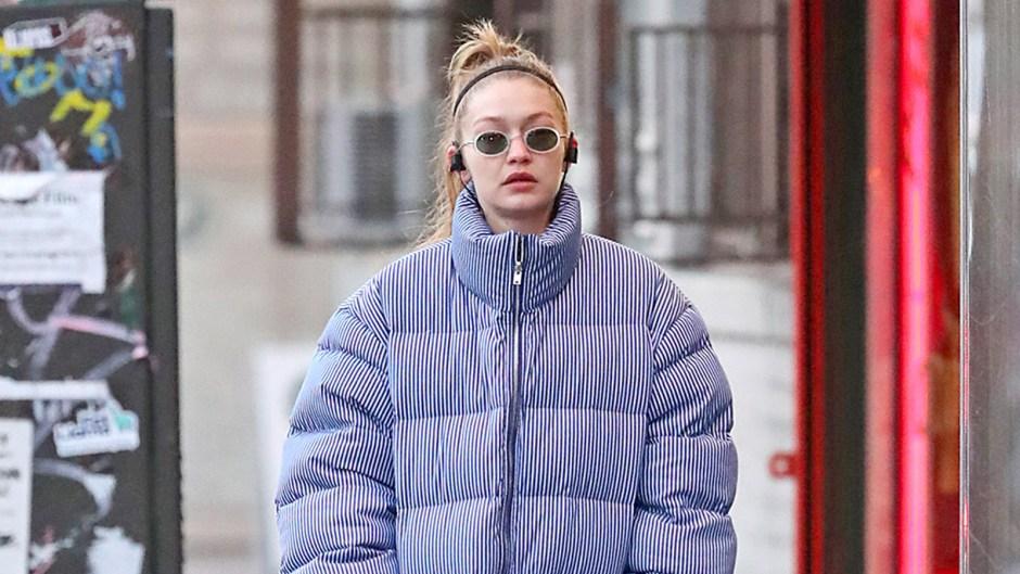 Gigi Hadid Wearing A Puffer Jacket And No Makeup Is A Mood
