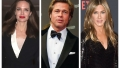 A split image of Angelina Jolie, Brad Pitt and Jennifer Aniston