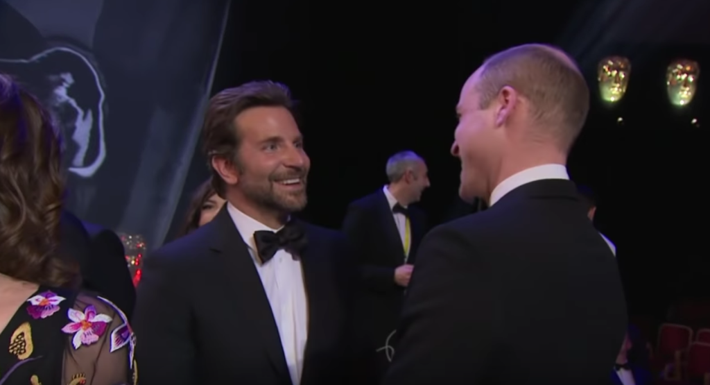 Bradley Cooper and Prince William talking at the BAFTAs