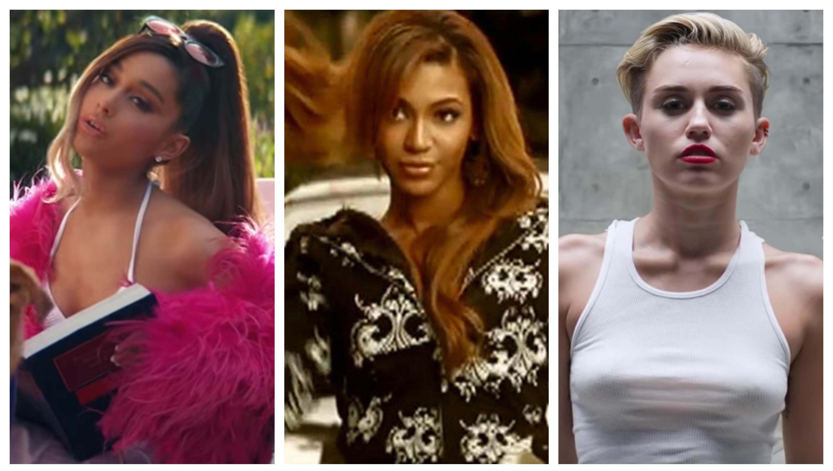 A split image of Ariana Grande, Beyonce and Miley Cyrus