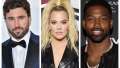 A split image of Brody Jenner, Khloe Kardashian and Tristan Thompson