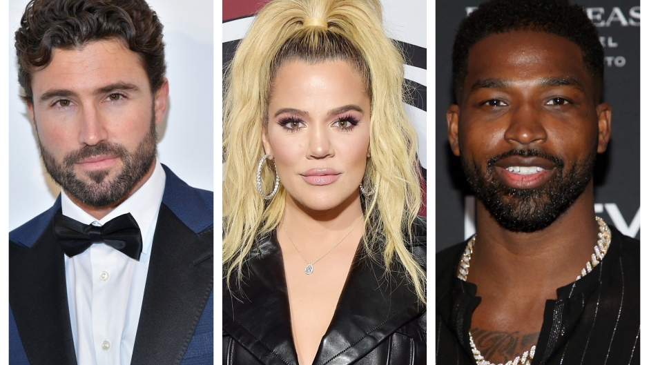 A split image of Brody Jenner, Khloe Kardashian and Tristan Thompson
