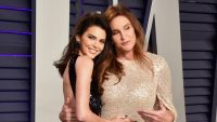 Kendall Jenner and Caitlyn Jenner posing together at the 2019 oscars vanity fair afterparty