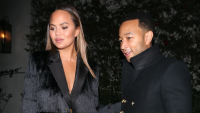 Chrissy Teigen and John Legend out to dinner in Beverly Hills wearing all black