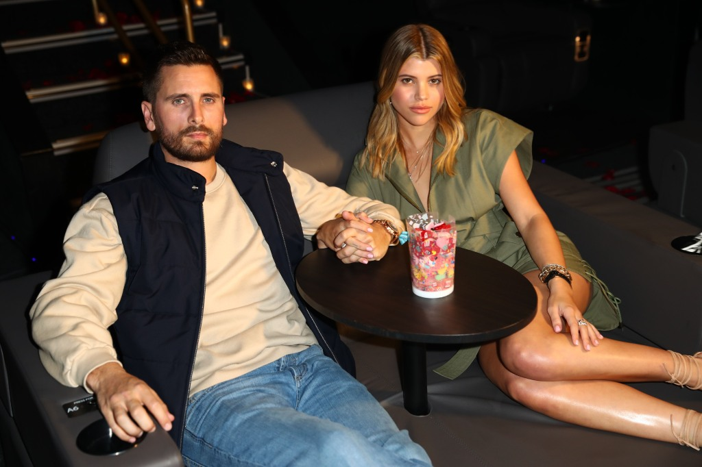Scott Disick and Sofia Richie holding hands during valentine's day date at sugar factory