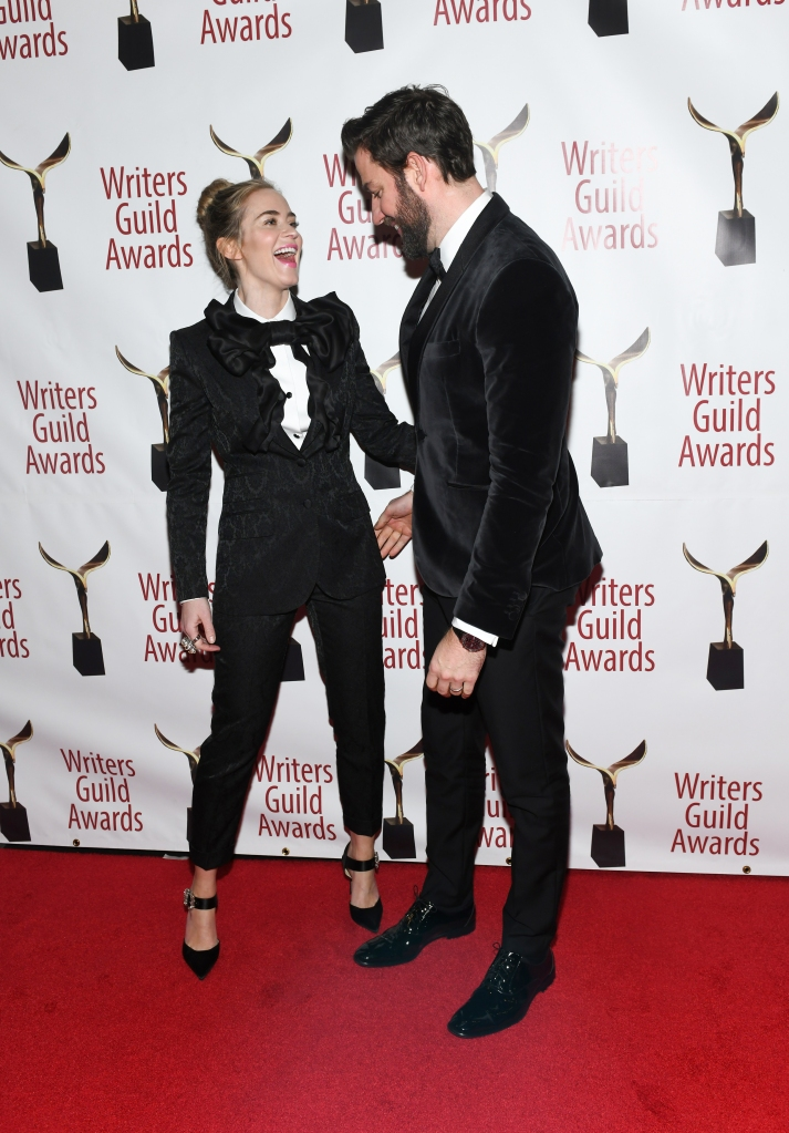 Twinning: Emily Blunt and John Krasinski Are Everything in Matching Tuxes at the Writers Guild Awards
