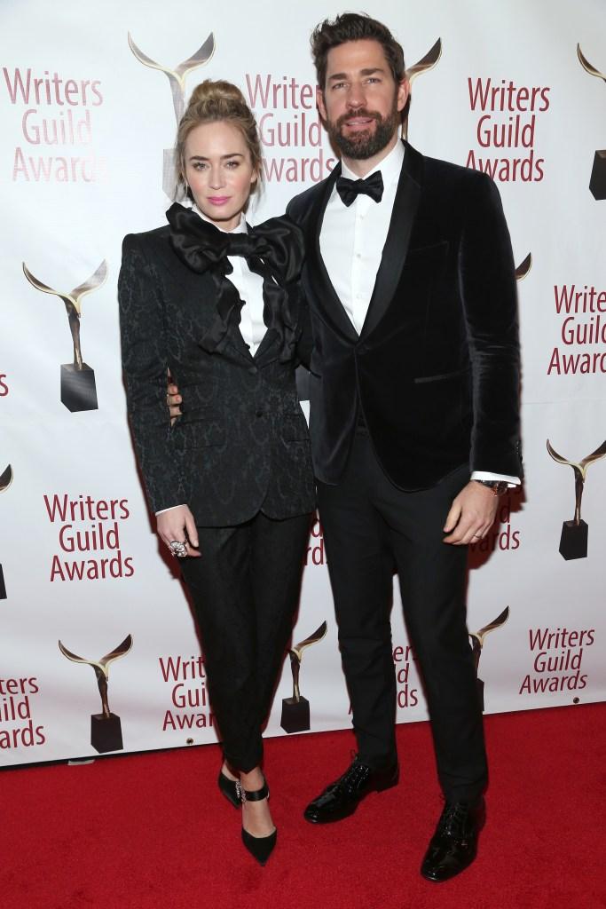 John Krasinski Emily Blunt matching tuxedos