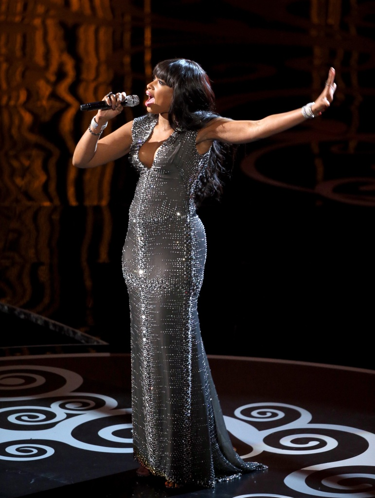 Jennifer Hudson performing on stage at the 2013 Oscars