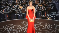 Jennifer Lawrence wearing a red dress at the Oscars