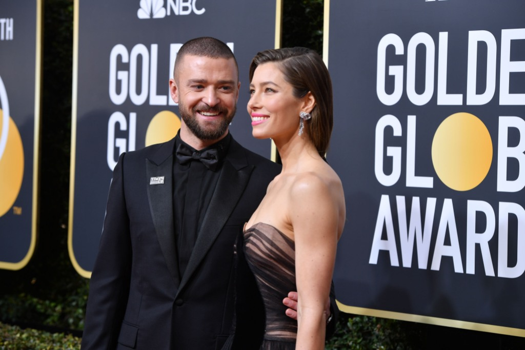Justin Timberlake all black tux Jessica Biel strapless black dress