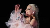 Lady Gaga wearing a pink dress