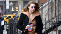 Gigi Hadid leaving Zayn Malik's apartment in NYC