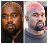 A split image of Kanye West with two different hairstyles