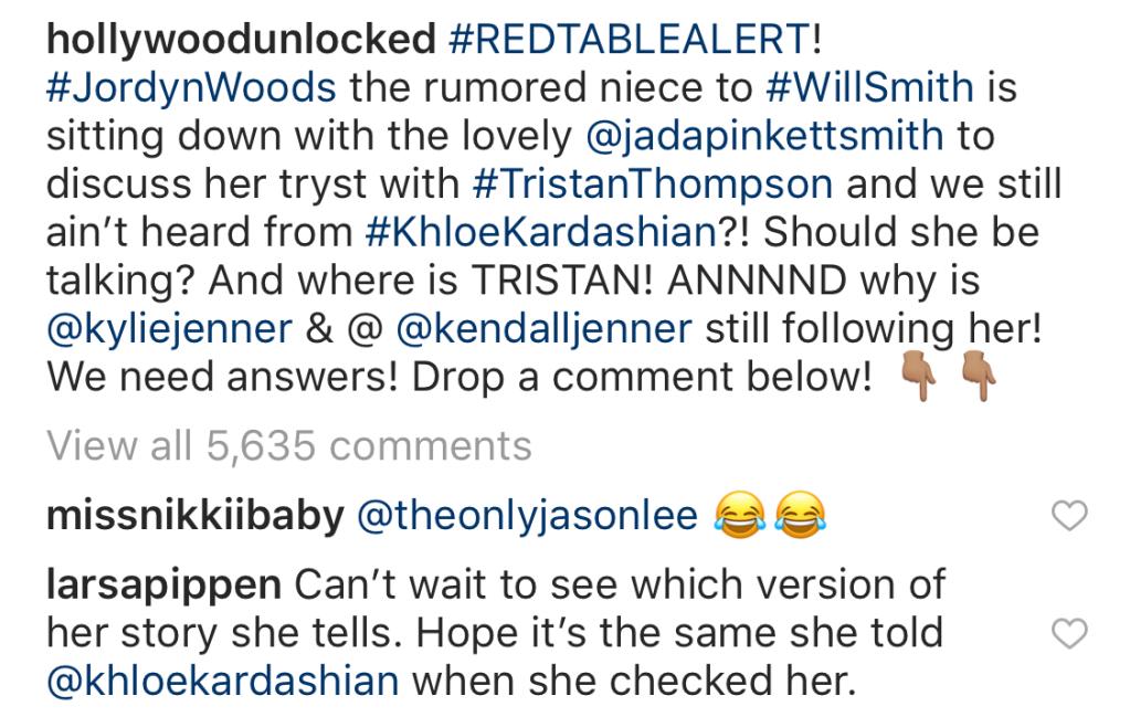 Larsa Pippen comment on instagram bashing jordyn woods red table talk appearance