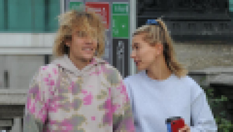 Justin Bieber walking with Hailey Baldwin