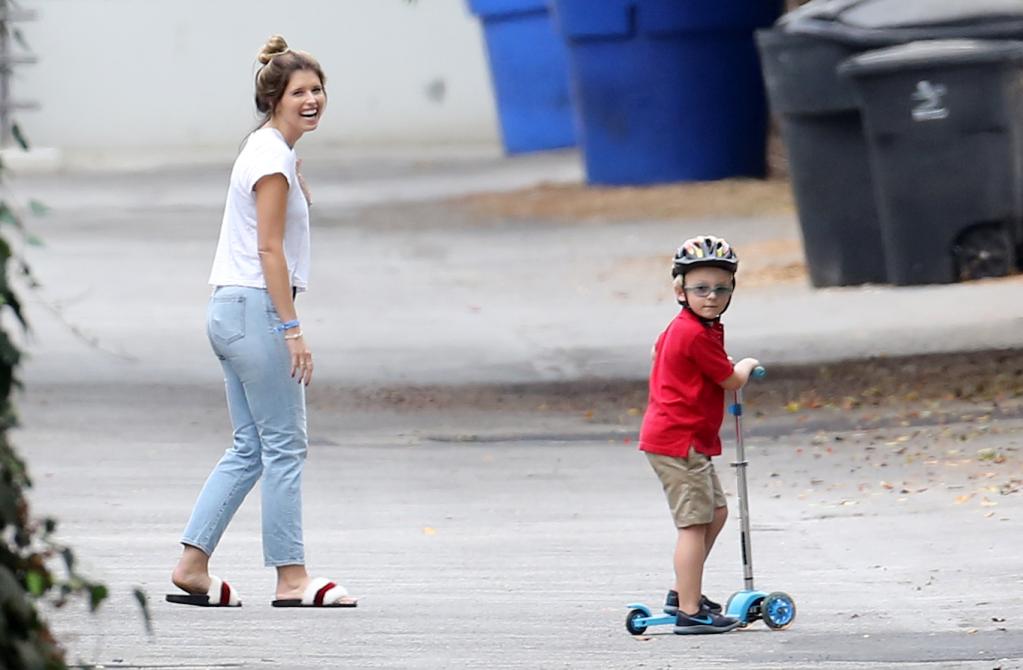 Katherine Schwarzenegger playing outside with Chris Pratt's son