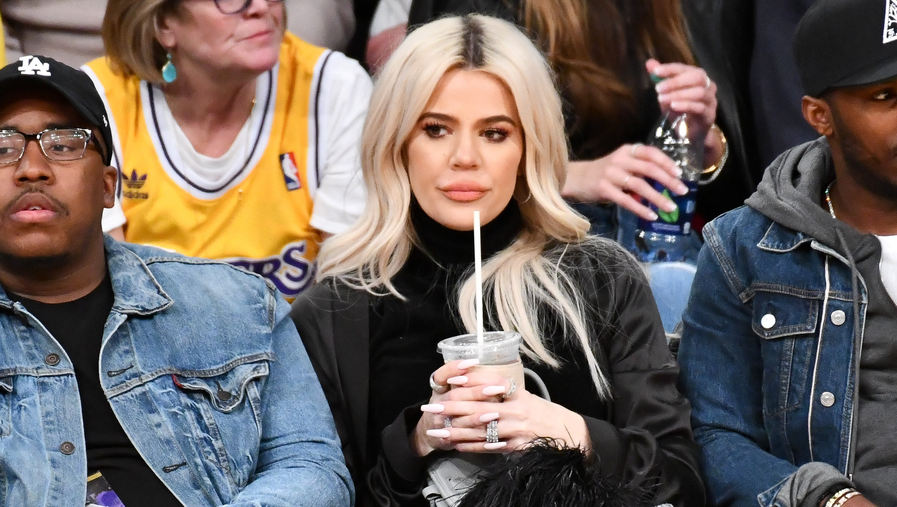 Khloe Kardashian watching Tristan Thompson play basketball