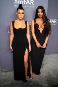 Kim Kardashian West and Kourtney Kardashian arrive to the amfAR Gala New York 2019 at Cipriani Wall Street on February 6, 2019 in New York City.
