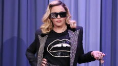 Madonna posing on the Tonight Show with Jimmy Fallon