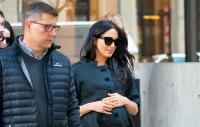 Meghan Markle wearing all black walking in NYC