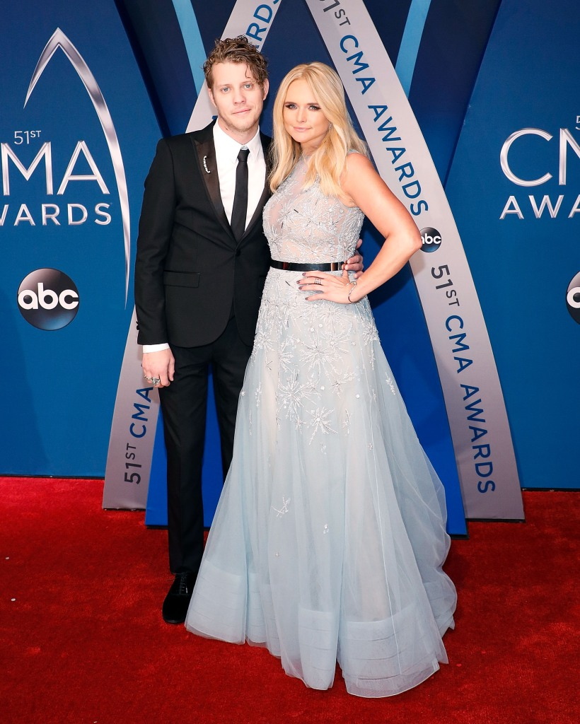 Anderson East and Miranda Lambert attend the 51st annual CMA Awards at the Bridgestone Arena on November 8, 2017 in Nashville, Tennessee.