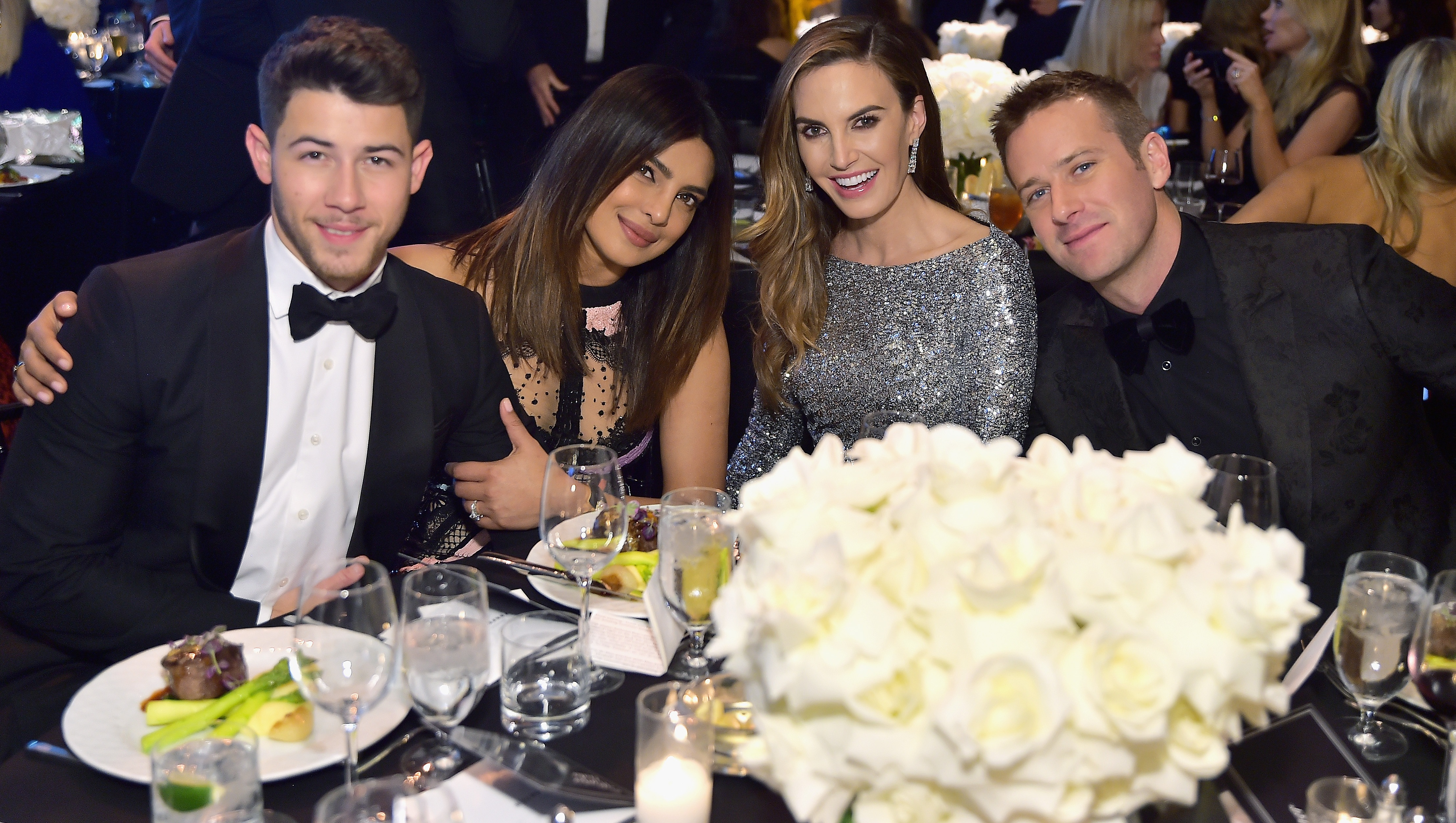 Nick Jonas, Priyanka Chopra, Elizabeth Chambers and Armie Hammer attend Learning Lab Ventures 2019 Gala Presented by Farfetch at Beverly Hills Hotel on January 31, 2019 in Beverly Hills, California