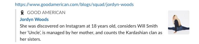Jordyn Woods Good American denim page now deleted
