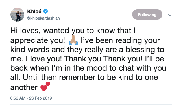 khloe kardashian tweet thanking fans for support after Tristan Thompson cheating scandal