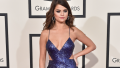 Selena Gomez at the 2016 Grammys wearing a sparkly purple gown