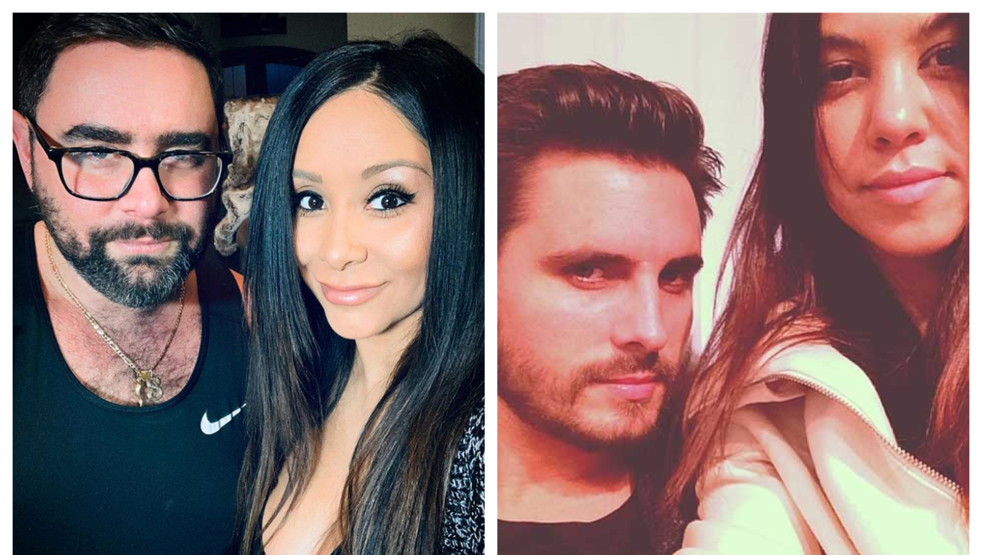 A split image of Snooki and Joey Camasta and Scott Disick and Kourtney Kardashian