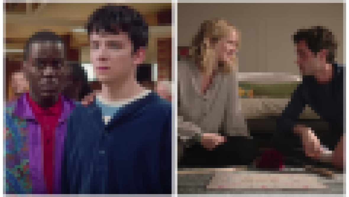 A split image of scenes from the show Sex Education and You