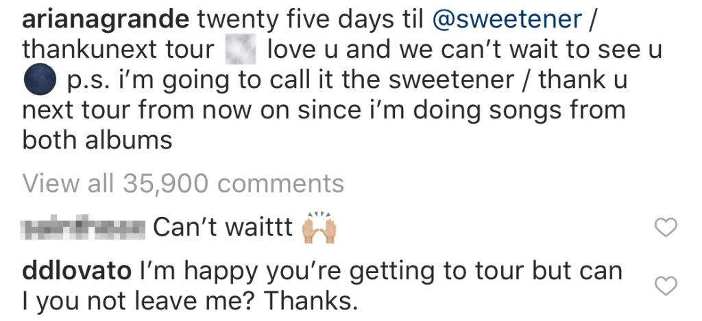 Demi Lovato comments on Ariana Grande's instagram
