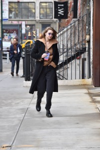 Gigi Hadid is seen early morning with no make up on after spending the night at Zayns apartment in New York