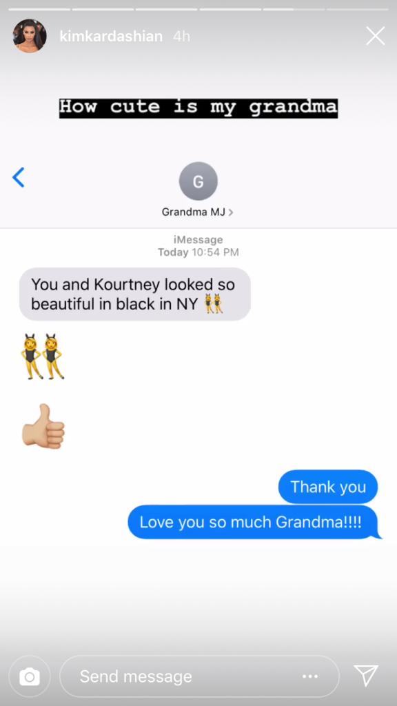 kim kardashian grandma mj texts