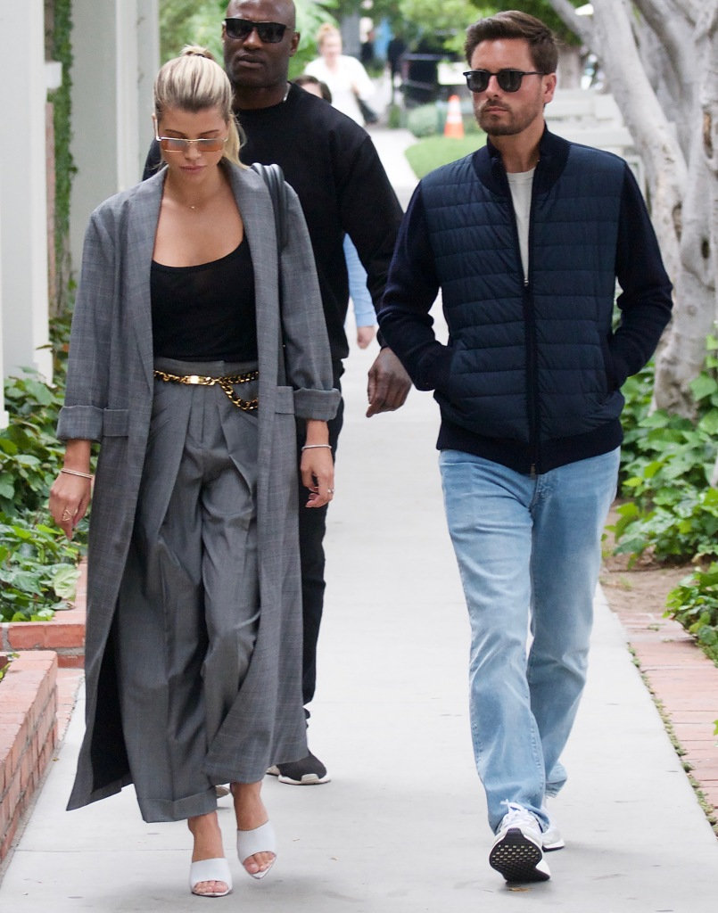 Scott Disick Wears Jeans and a Blue Jacket With Ex Sofia Richie in Grey Suit