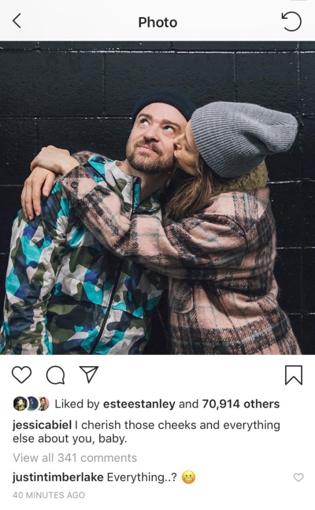 Jessica Biel Justin Timberlake instagram comments