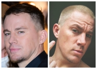 A split image of Channing Tatum with two different hairstyles.