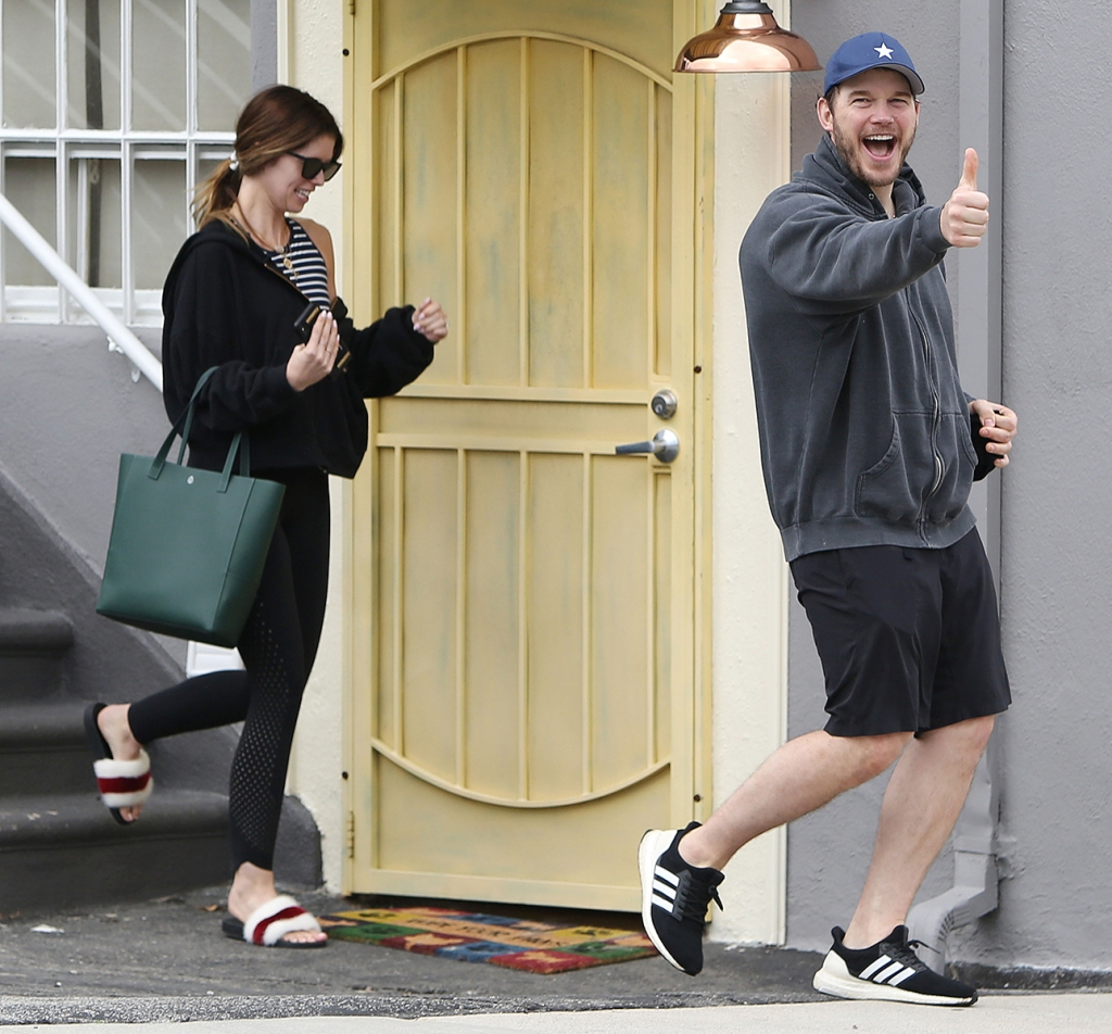Chris Pratt and Fiancee Katherine Schwarzenegger Are All Smiles Leaving the Gym