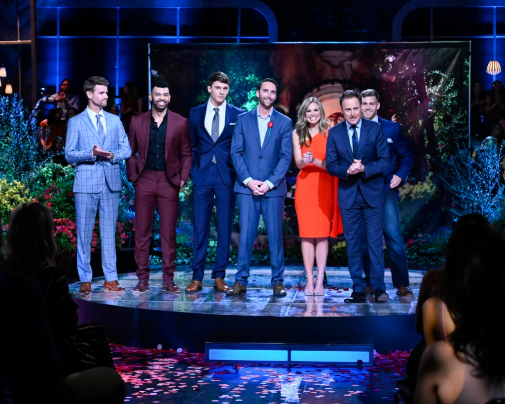 Hannah B Chris Harrison after the final rose with some contestants