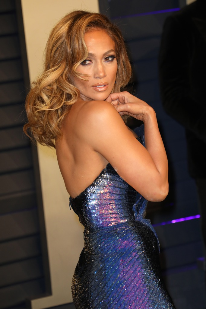 Jennifer Lopez purple dress vanity fair oscars party