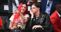 Halsey and boyfriend Yungblud watching a basketball game