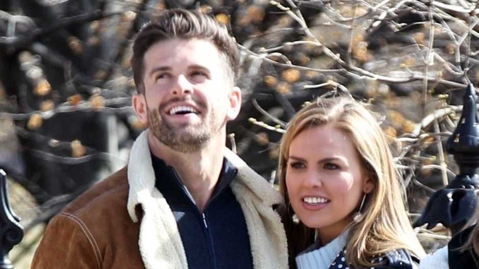 Bachelorette Hannah Brown holding hands with her first date in Boston while filming the hit reality show