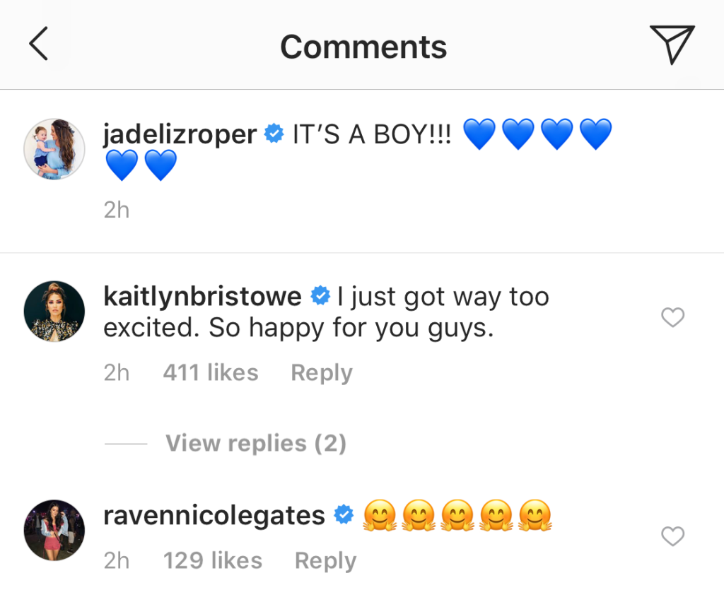 Kaitlyn Bristowe and Raven Gates comment on Jade Roper and tanner tolberts gender reveal announcement