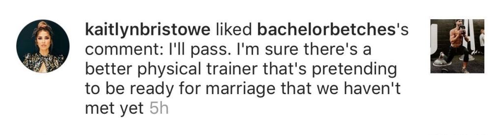 Kaitlyn Bristowe liked comment about shawn booth not being ready for marriage