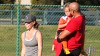 Kendra Wilkinson and Hank Baskett reunite for Alijah first soccer game of the season