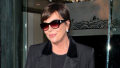 Kris Jenner walking in Beverley Hills wearing an all black outfit.